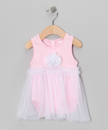 Mooncakes Pink & White Floral Skirted Bodysuit - Infant