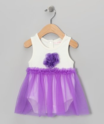 White & Purple Floral Skirted Bodysuit - Infant