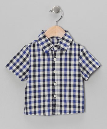 Royal & Navy Plaid Button-Up - Infant
