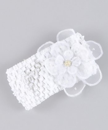 White Ming Organza Flower Headband