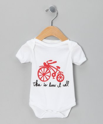 White 'How I Roll' Bike Organic Bodysuit - Infant