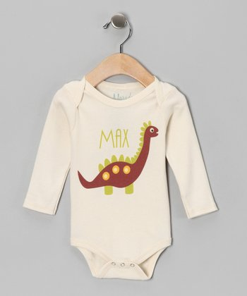 Oatmeal Dino Personalized Organic Bodysuit - Infant