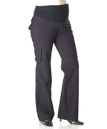 Black Mid-Belly Maternity Cargo Pants