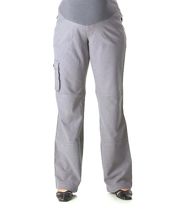 Gray Mid-Belly Maternity Cargo Pants