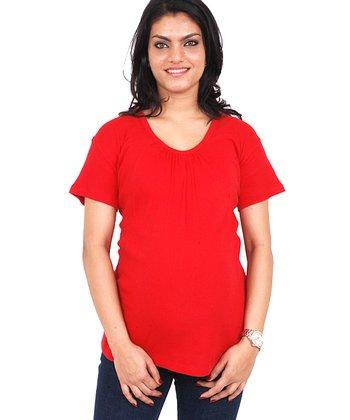 Red Gathered Maternity Scoop Neck Tee