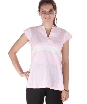 Pink Polka Dot Maternity Surplice Top