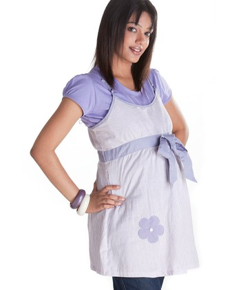 Lavender Flower Maternity & Nursing Layered Tunic