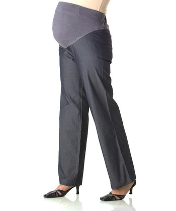 Dark Gray Over-Belly Maternity Straight-Leg Pants