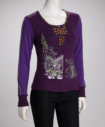 Purple Embellished Sweater - Women