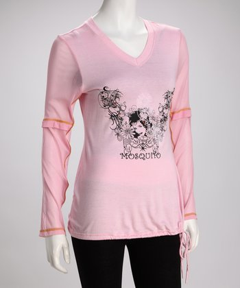 Pink Embellished Plus-Size V-Neck Tunic
