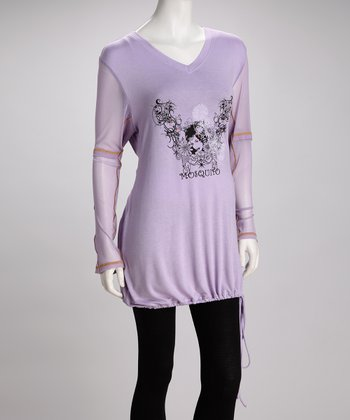Purple Embellished Plus-Size V-Neck Tunic