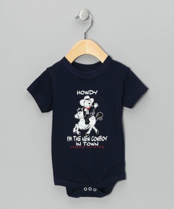 Navy 'Howdy' Bear Bodysuit - Infant