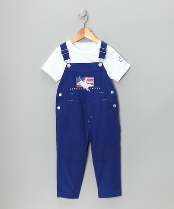 White Horse Tee & Royal Blue Overalls - Infant