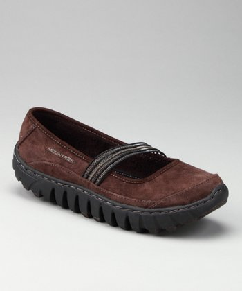 Dark Brown Suede Lotus Mary Jane - Women