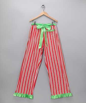 Red Stripe Pajama Pants - Women