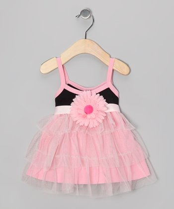 Black & Pink Floral Perfectly Princess Dress - Infant