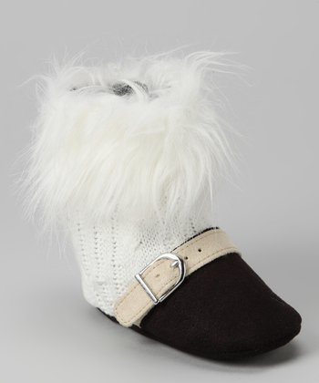 White & Black Fur Buckle Boot