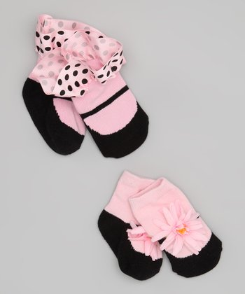 Pink Ruffle & Flower Socks Set - Infant