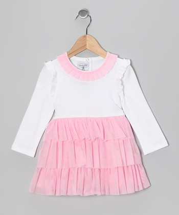 White & Pink Chiffon Ruffle Tier Dress - Toddler