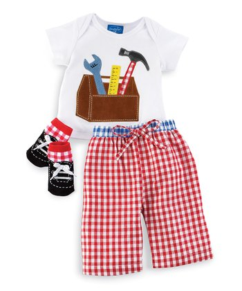 Red Gingham Tool Tee Set - Infant & Toddler