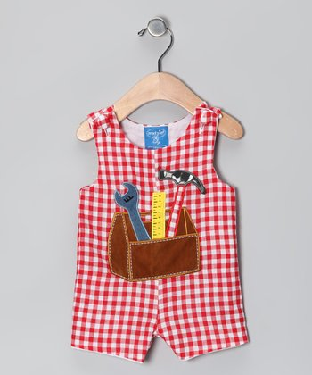 Red Gingham Tool Shortalls - Infant