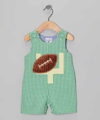 Green Plaid Football Seersucker Shortalls - Infant