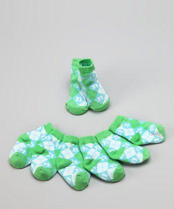 Green & Blue 'N' Initial Socks Set