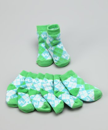 Green & Blue 'W' Initial Socks Set