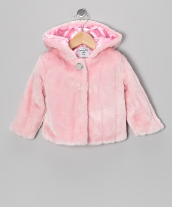 Pink Medallion Button Faux Fur Coat - Infant & Toddler