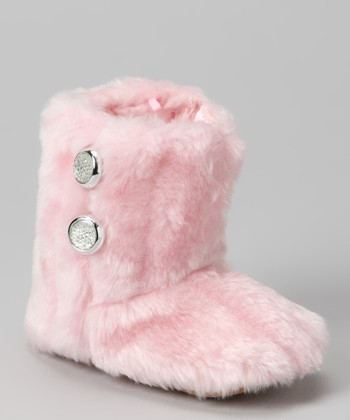 Pink Medallion Button Faux Fur Boot
