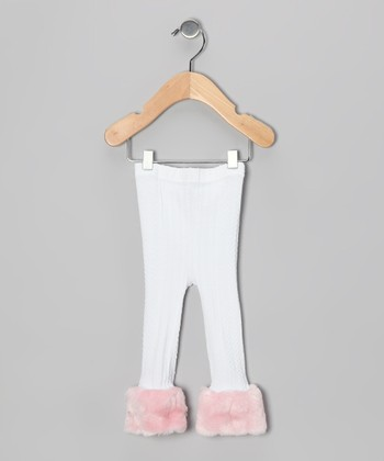 White & Pink Cable-Knit Faux Fur Pants - Infant & Toddler