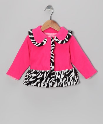 Pink Zebra Ruffle Fleece Coat - Infant & Toddler