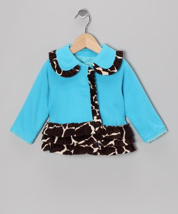 Blue Giraffe Ruffle Fleece Coat - Infant & Toddler