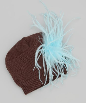 Brown & Blue Ostrich Beanie