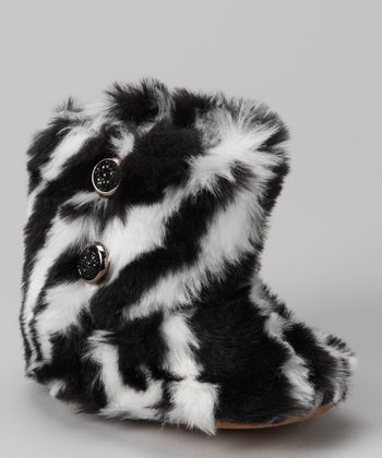 Zebra Faux Fur Boot - Kids