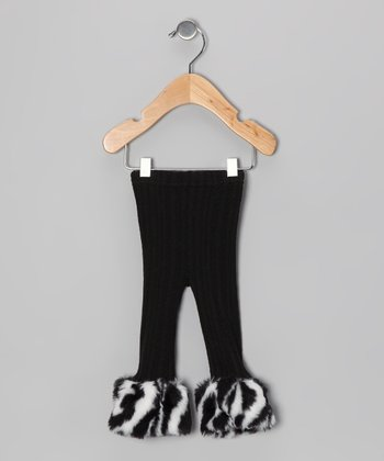 Black Zebra Cuff Cable-Knit Leggings - Infant, Toddler & Girls