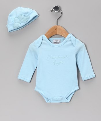 Blue 'Grandma's Angel' Bodysuit & Beanie - Infant