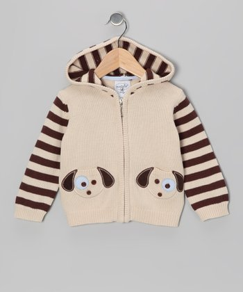 White & Brown Stripe Puppy Sweater - Infant & Toddler