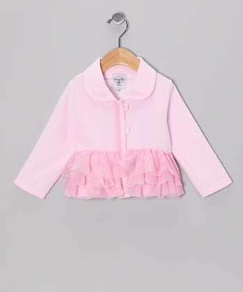 Pink Velour Ruffle Coat - Infant