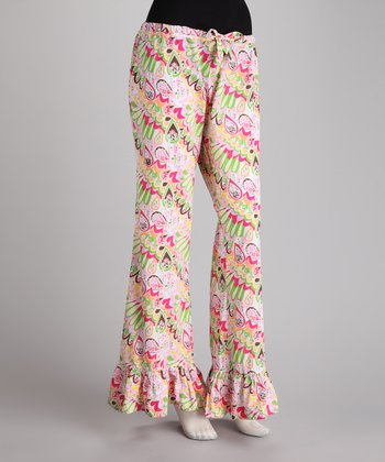 Pink & Green Morning Glory Pajama Pants
