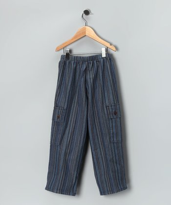 Blue & Brown Stripe Cargo Pants - Boys