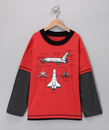 Clay Space Shuttle Layered Tee - Kids