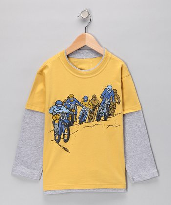 Wheat Bike Race Layered Tee - Boys