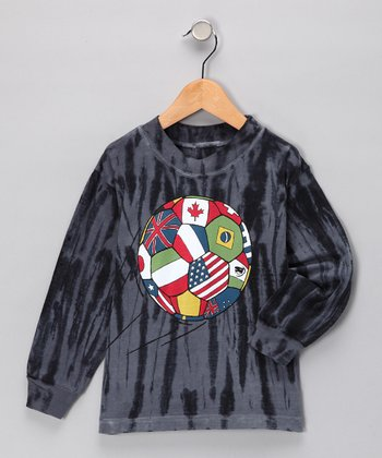 Gray & Black Tie-Dye World Soccer Tee - Boys