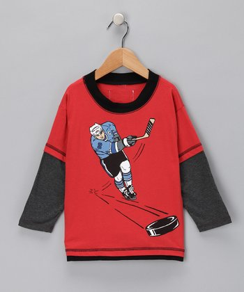 Clay Hockey Player Layered Tee - Boys