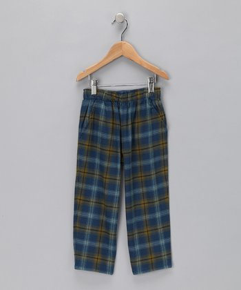 Green & Blue Plaid Pants - Boys