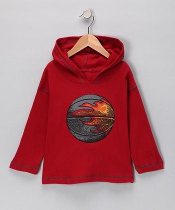 Rust Flame Basketball Hoodie - Boys