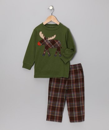 Green Plaid Tee & Pants - Toddler & Boys