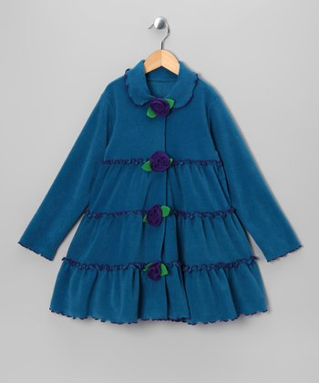 Peacock Tiered Ruffle Rosette Jacket - Girls
