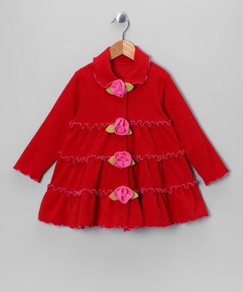 Rose Tiered Ruffle Rosette Jacket - Toddler & Girls
